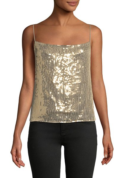 "Alice + Olivia Harmon Sequin Drapey Slip Tank in gold - Alice + Olivia ""Harmon"" satin tank with embellishments...."