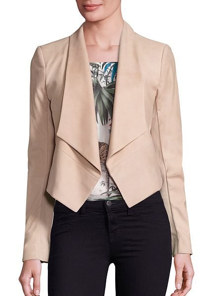 Alice + Olivia harvey suede draped jacket in champagne - Stylish draped jacket tailored from supple suede. Shawl...