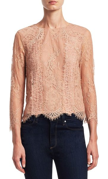 ALICE + OLIVIA hildie laced top - Elegant top with allover lace detail. Roundneck. Long...