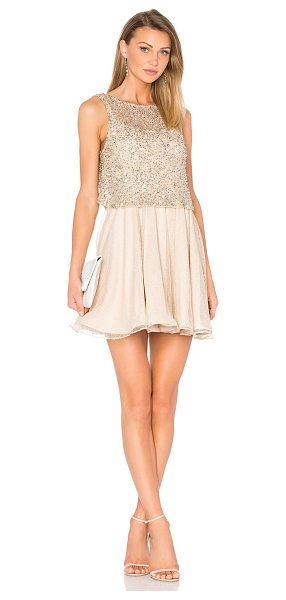 Alice + Olivia Hilta Flare Dress in metallic gold - Self: 100% nylonLining: 95% poly 5% elastane. Dry clean...