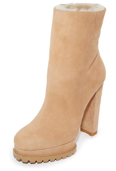 Alice + Olivia Holden shearlng booties in tan - Cozy shearling lines these velvety suede alice + olivia...