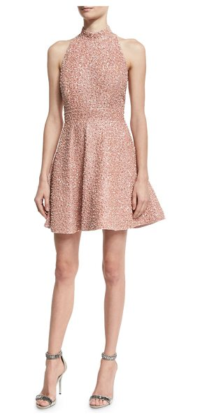 "Alice + Olivia Hollie Sequined Fit-and-Flare Racerback Dress in pink - Alice + Olivia ""Hollie"" silk mini dress with sequin..."