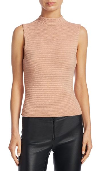 Alice + Olivia ingrid mockneck top in rose tan - Elegant Mockneck top with soft shimmery fabric....