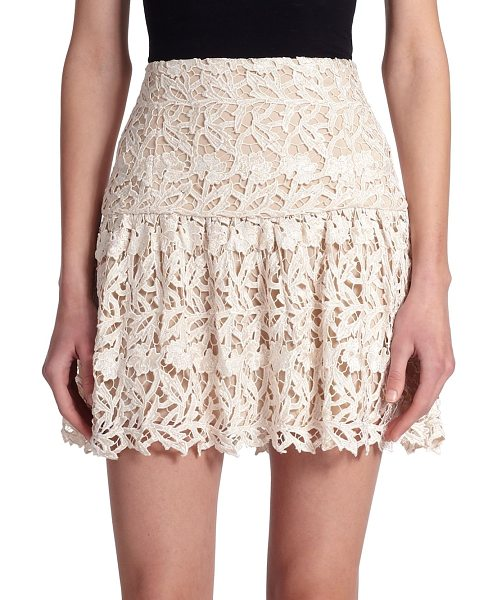 Alice + Olivia Jayce lace mini skirt in creamnatural - Intricate lace lends a touch of romance to this feminine...