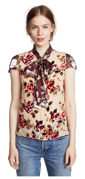 Alice + Olivia jeannie bow collar blouse in natural/multi - Fabric: Devoré Attached scarf at collar Floral print...