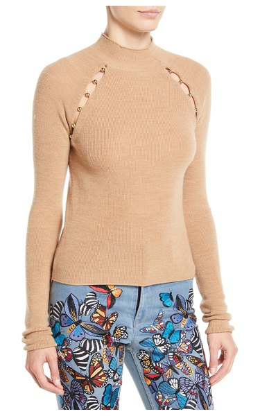 "Alice + Olivia Jennifer Mock-Neck Raglan Slit Pullover in camel - Alice + Olivia ""Jennifer"" sweater with beaded slit..."