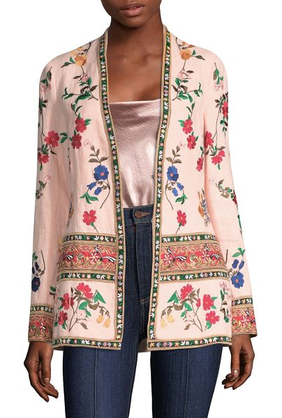 Alice + Olivia jerri embroidered open front blazer in blush multi - Vibrant blazer with a relaxed silhouette. Open front....
