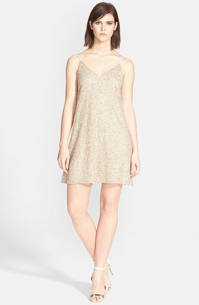 Alice + Olivia kalia beaded v-neck dress in gold multi - Allover beadwork gives a glamorous golden shine to this...