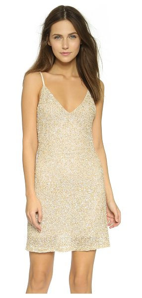 Alice + Olivia Kalia beaded v neck slip dress in gold multi - Dense beadwork and metallic sequins bring glamour to...