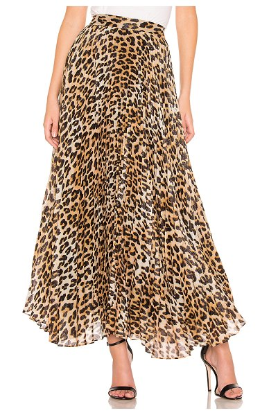 Alice + Olivia katz pleated maxi skirt in spotted leopard multi