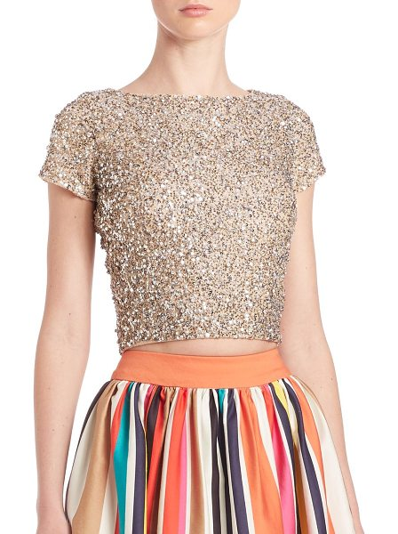 Alice + Olivia kelli embellished top in pale gold - Glittery tee with allover embellishing. Bateau neckline....
