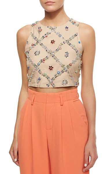 Alice + Olivia Kesten beaded-applique crop top in nude/multi -  Alice + Olivia Kesten top in sateen with allover beaded...
