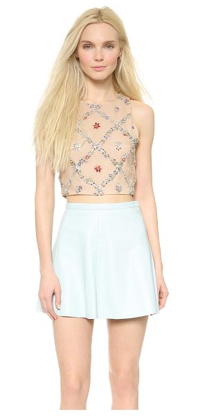 Alice + Olivia Kesten crop fitted tank in nude/multi - Intricate vines composed of colorful rhinestones create...