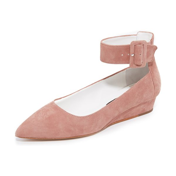 Alice + Olivia kiki flats in dusty rose - Suede alice + olivia flats in a refined, pointed toe....