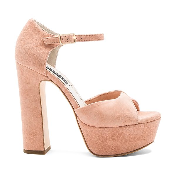 ALICE + OLIVIA Layla Platform in dusty rose - Suede upper with leather sole. Ankle strap with buckle...