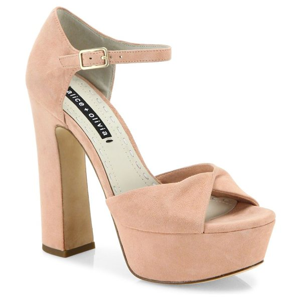 Alice + Olivia layla suede platform sandals in dusty rose - Retro-chic suede platform sandal with twisted toe band....