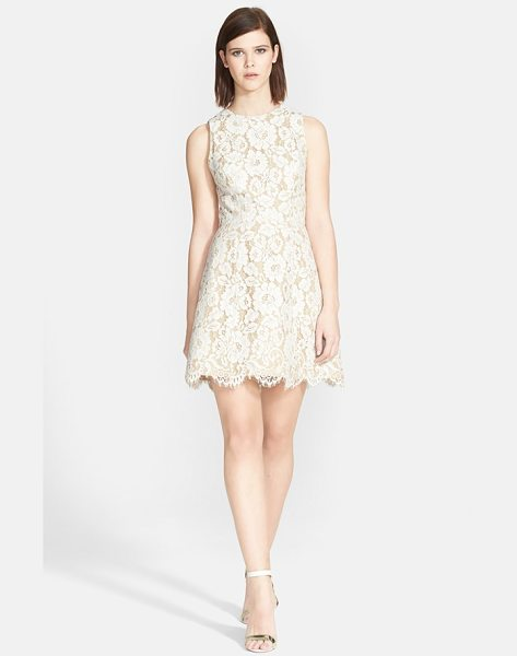 Alice + Olivia leann lace fit & flare dress in ivory/tan - A gorgeous floral-lace overlay with eyelash-fringe...