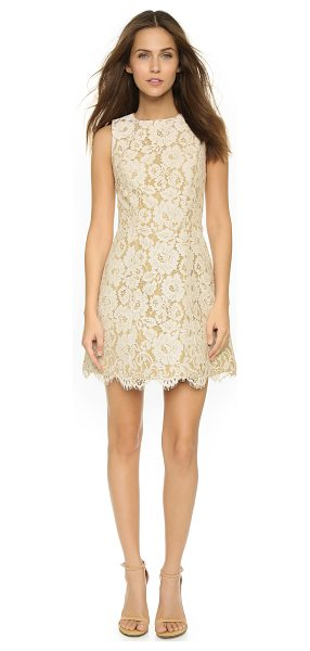Alice + Olivia Leann sleeveless bell dress in ivory/tan - Floral lace adds sweet texture to this structured alice...