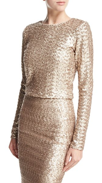 "Alice + Olivia Lebell Sequined Long-Sleeve Crop Top in light pink - Alice + Olivia ""Lebell"" allover sequined crop top. Round..."