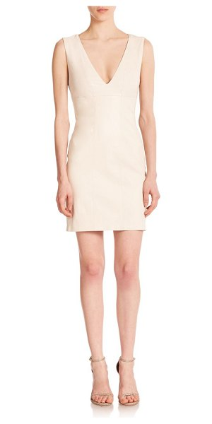 Alice + Olivia Levi leather sheath dress in bone - This waist-defining sheath dress makes a polished...