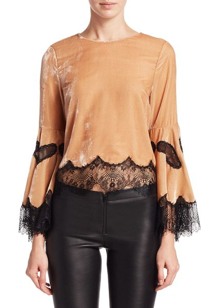 Alice + Olivia levine bell sleeve blouse in nude black - Chic velvet top with lace details. Roundneck. Long bell...