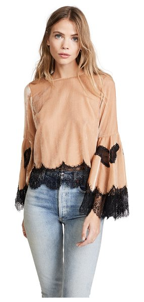 ALICE + OLIVIA levine bell sleeve blouse - A charming alice + olivia crop top with contrast lace...