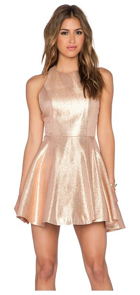 Alice + Olivia Lia Circle Skirt Dress in metallic gold