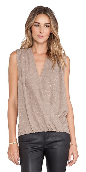 Alice + Olivia Lilah cross over blouse in taupe - 95% poly 5% spandex. Dry clean only. Twist wrap front....