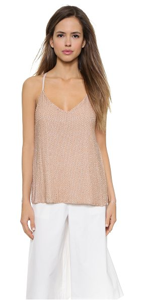 Alice + Olivia Lola sequin tank in nude - This silk chiffon alice + olivia tank has iridescent...