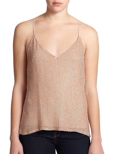 ALICE + OLIVIA Lola sequined silk racerback tank in nude - The stylish fluidity and simplicity of this modern silk...
