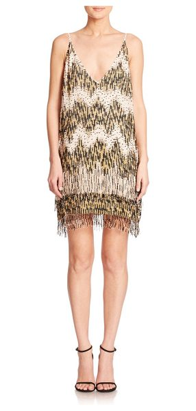 Alice + Olivia Lyle embellished cocktail dress in cream-multi - Chic chemise in a breezy silhouette, suspended from...