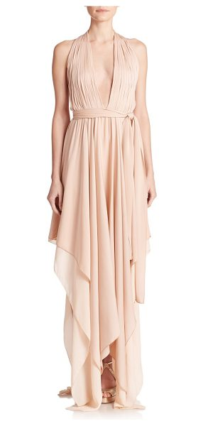 Alice + Olivia Lyndon belted stretch silk halter dress in pink - This ethereal halter dress is beautifully cut from...
