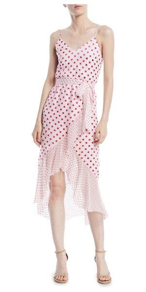 "Alice + Olivia Mable Faux-Wrap Polka-Dot Midi Dress in white/pink - EXCLUSIVELY AT NEIMAN MARCUS Alice + Olivia ""Mable""..."