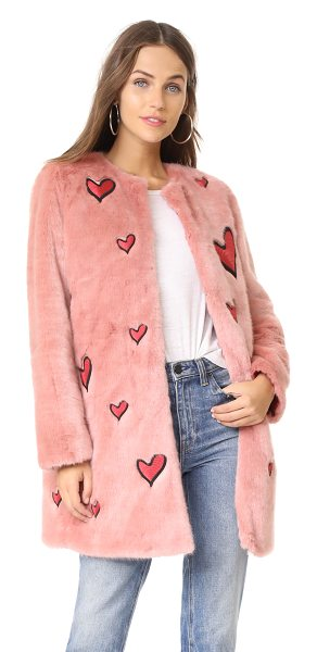 Alice + Olivia madge embroidered faux fur coat in pink/deep ruby - This quirky, faux-fur alice + olivia jacket is detailed...