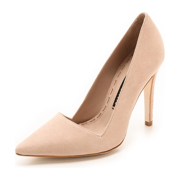 Alice + Olivia Makayla suede pumps in nude lips - An angular top line and pointed toe lend a polished look...