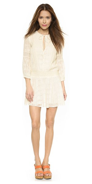 Alice + Olivia Margaux smocked dropwaist dress in cream - Mesh insets and intricate embroidery give this alice +...