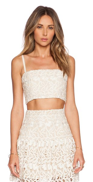 Alice + Olivia Marisol bustier in cream - Poly blend. Hand wash cold. Adjustable shoulder straps....