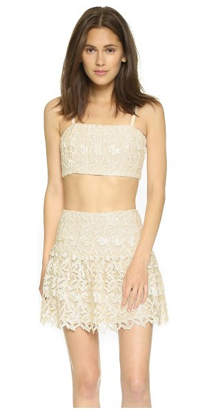 Alice + Olivia Marisol lace bustier top in cream/natural - An alice + olivia crop top made from elegant lace....