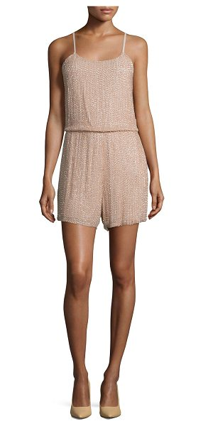 "Alice + Olivia Mika Sleeveless Beaded Silk Romper in tan - Alice + Olivia ""Mika"" beaded romper in silk. Approx...."