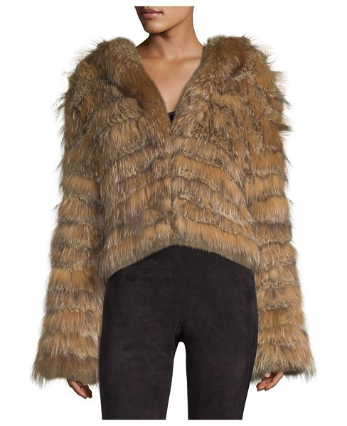Alice + Olivia nadia tiered hooded rabbit fur coat in natural