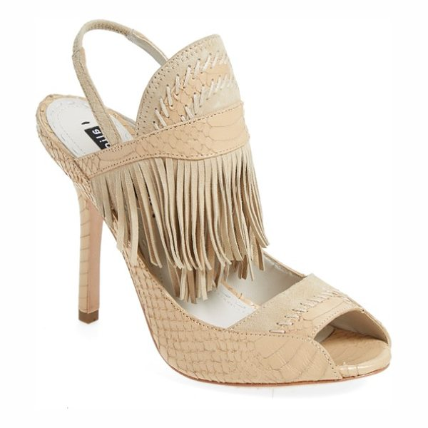 Alice + Olivia nadya fringe open toe sandal in warm sand
