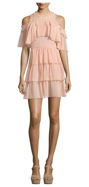 "Alice + Olivia Nichola Cold-Shoulder Ruffle Party Dress in blush - Alice + Olivia ""Nichola"" party dress in gauzy ruffled..."