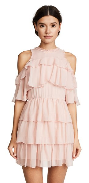 Alice + Olivia nichola ruffle party dress in blush - Fabric: Silk chiffon Shoulder cutouts Mini dress cut...