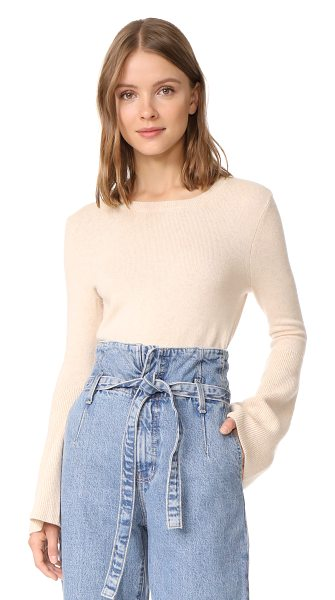 Alice + Olivia parson sweater in nude - Long bell sleeves bring an unexpected look to this...