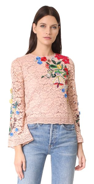 ALICE + OLIVIA pasha embroidered bell sleeve top - Multicolor embroidered patches with petite beads add an...