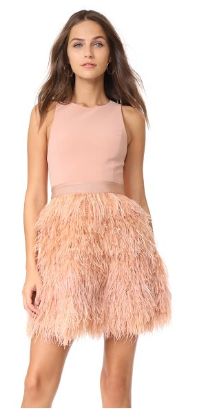 Alice + Olivia philomena feather dress in rose tan - Dense ostrich feathers add eye-catching volume to this...