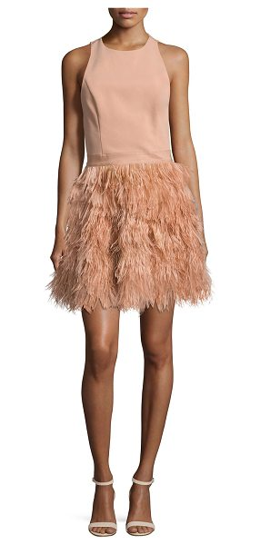 "Alice + Olivia Philomena Feather-Skirt Cocktail Dress in light pink - Alice + Olivia ""Philomena"" cocktail dress with lace...."