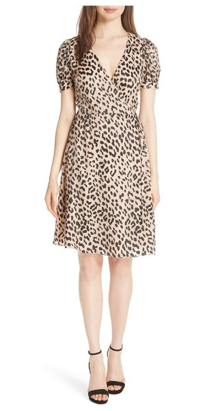 Alice + Olivia puff sleeve wrap dress in leopard/ sand - An always-chic leopard print elevates this flattering...