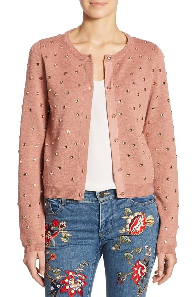 Alice + Olivia rhuty rhinestone cardigan in rose tan - Wool-blend cardigan with allover studs accents....