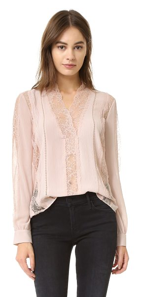 Alice + Olivia Robbie v neck sheer lace blouse in dusty pink
